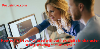 """How to fix Error: '\u' used without hex digits in character string starting """"""""c:\u"""" Error ?"""
